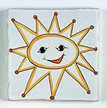 carreau décoré motif soleil peint à la main