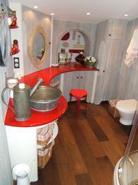 Plan de Vasque en Lave Emaillée Rouge Chinois