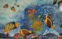 panneau décoratif : aquarium poissons sur lave