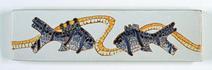 Carreau décoré motif mozaïque poissons peint à la main - Salernes